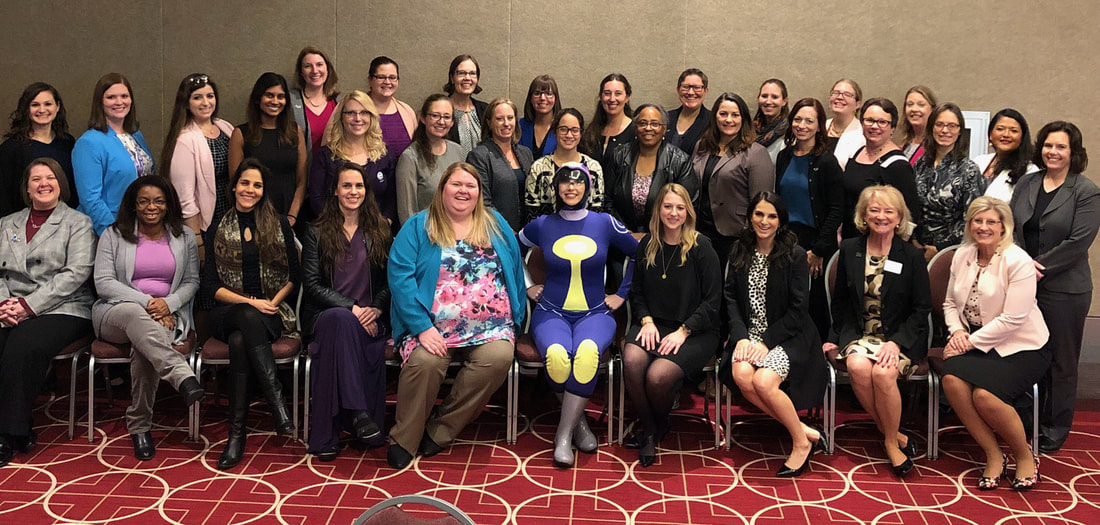 FY19 Senate at WE18 with the SWE comic book character Nano.